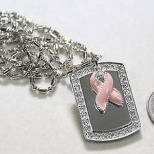 Breast Cancer  Pink Ribbon Bling Cz Necklace